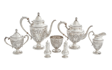 An American sterling silver five-piece tea and coffee service