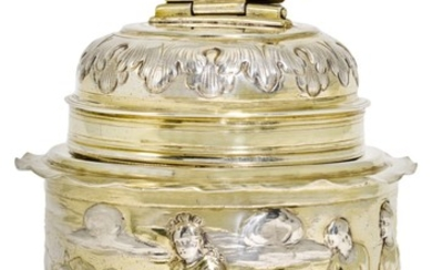 A GERMAN PARCEL-GILT SILVER CANNISTER, HANS PETRUS III, AUGSBURG, 1665-70