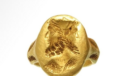 Roman Solid Gold Ring with Janus Double Head, 1st-2nd