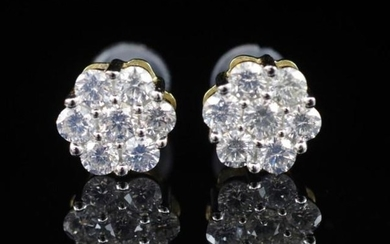 1.00ct diamond and 14ct yellow gold cluster stud earrings. M...