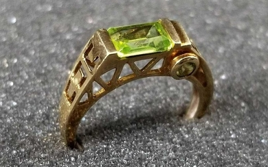 10K Gold Peridot Ring Size 7
