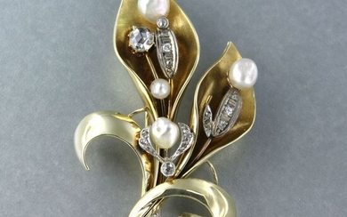 14 kt. Freshwater pearl, White gold, Yellow gold - Brooch - 0.20 ct Diamond