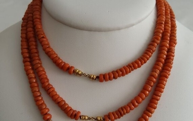 14 kt. Gold - Necklace - Antique Red Coral from the early 1900s