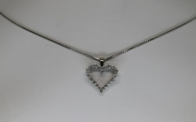 14KT White Gold Diamond Heart Necklace