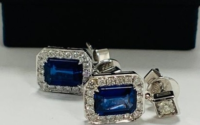 14ct White Gold Sapphire and Diamond drop earrings...