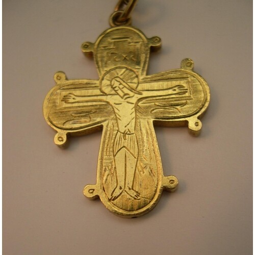 14ct yellow gold cross on 9ct yellow gold chain, 3.9 grams...