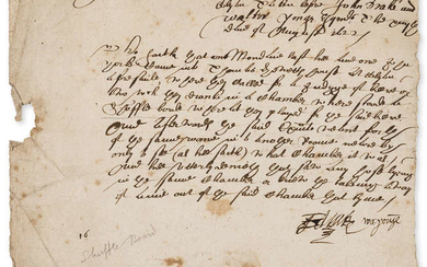 """17th century shuffle ball.- The ?examynation of John Wilcope, late of Wylbee, taken before John Drake and Walter Young, D.s. """"John Drake"""" and """"Walter Young"""", manuscript, 1622; and 3 others, 17th century (4 pieces)."""