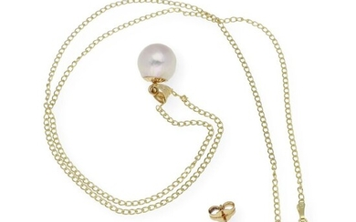 18 kt. Akoya pearl, Yellow gold, 8.0 & 9.8 mm - Earrings, Necklace with pendant