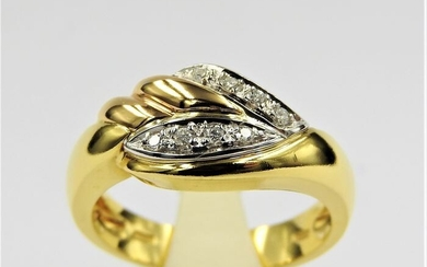 18 kt. Bicolour, White gold, Yellow gold - Ring - 0.16 ct Diamond