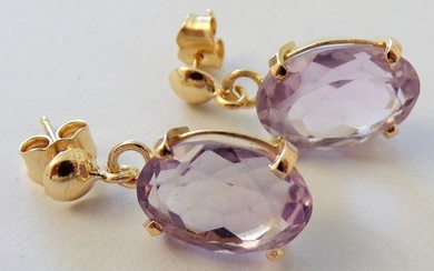 18 kt. Gold, Yellow gold - Earrings - 10.00 ct Amethyst