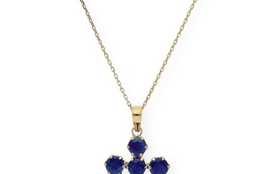 18 kt. Gold, Yellow gold - Necklace with pendant - 2.00 ct Sapphire