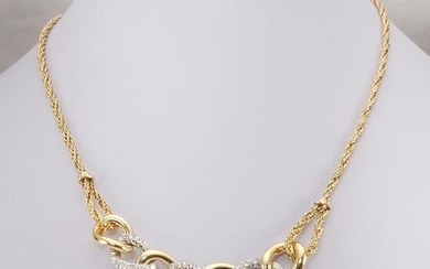 18 kt. White gold, Yellow gold - Necklace - 0.96 ct Diamond