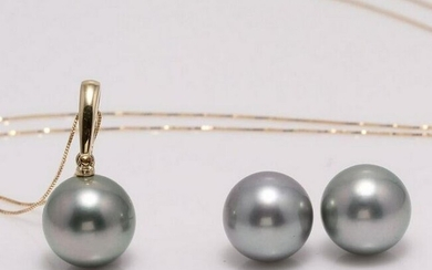 18 kt. Yellow gold - 11x12mm Round Tahiti Pearls