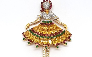 18 kt. Yellow gold - Necklace with pendant Mixed - Emerald, Ruby, Sapphire