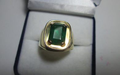 18 kt. Yellow gold - Ring Emerald - Emerald