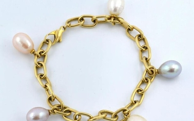 18K Gold oval link bracelet with multi-colored pearls.