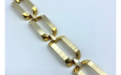 18ct White and Yellow Gold, Designer Bracelet. Weight 66.18g...