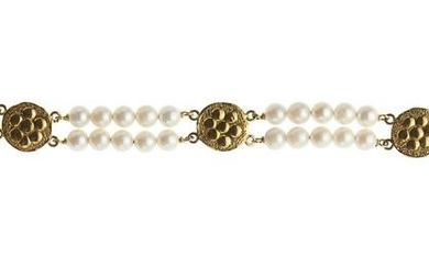 18kt yellow gold, cultured pearls and turquoise