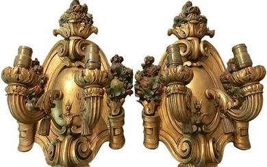 1920s Italian Giltwood Two-Light Wall Sconces