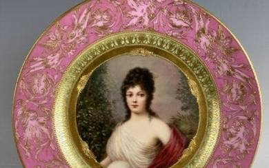 19TH C. ROYAL VIENNA PORTRAIT PLATE OF FRENCH BEAUTY