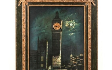 19th C. Night Scene English Big Ben Picture Clock
