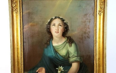 19th C. Oil on Board of Woman Signed