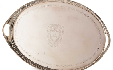 19th Century silver-plated oval tray