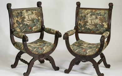 (2) French walnut and tapestry curule chairs