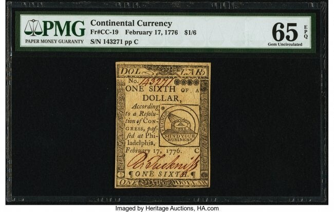 20001: Continental Currency February 17, 1776 $1/6 PMG