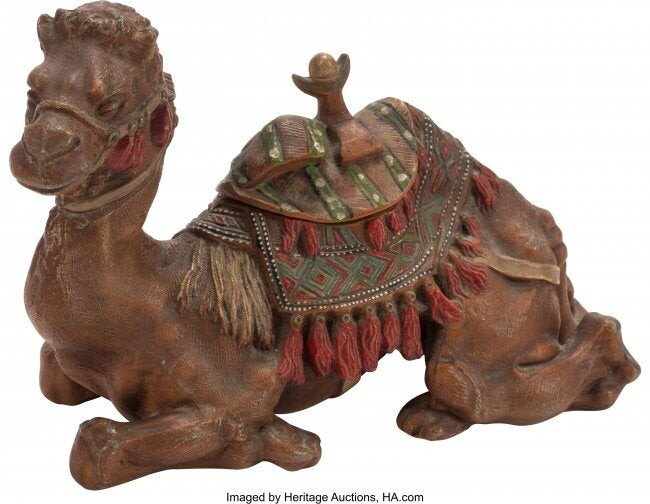 61401: An Austrian Cold Painted Bronze Camel-Form Inkwe