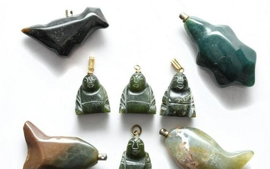 8 NECKLACE PENDANTS, CARVED STONE BUDDHAS, ANIMALS