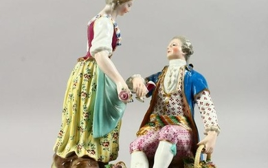 A 19TH CENTURY MEISSEN PORCELAIN GROUP OF A GALLANT AND