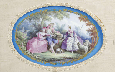 A 19th century French porcelain panel of oval form.