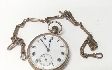 A 9ct gold open faced Criterion pocket watch along with a 9c...