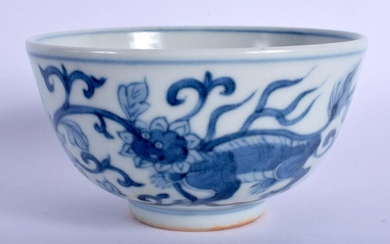 A CHINESE BLUE AND WHITE PORCELAIN BOWL painted with