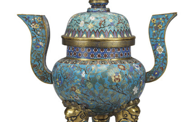 A CHINESE CLOISONNE ENAMEL TRIPOD CENSER, A COVER, AND A BRONZE STAND, 19TH CENTURY