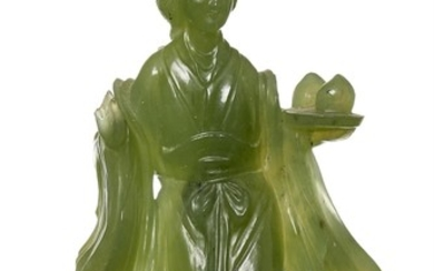 A CHINESE JADE FIGURE OF WOMAN, BOXED