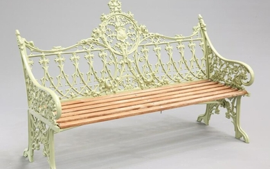 A COALBROOKDALE STYLE GREEN PAINTED GARDEN BENCH, cast