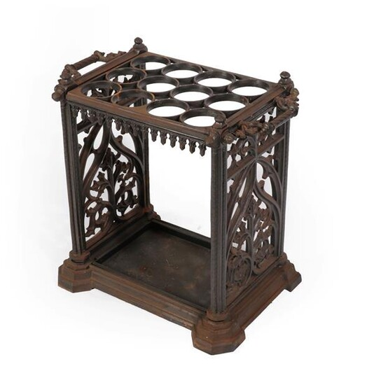 A Cast Iron Twelve-Division Stick Stand, stamped Coalbrookdale with lozenge...