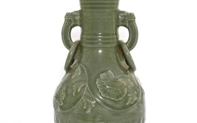 A Celadon Glazed Vase with Double Handles