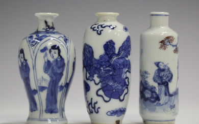 A Chinese blue and white export porcelain miniature vase, Kangxi period, the baluster body painted w