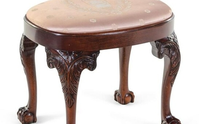 A Chippendale Style Carved Mahogany Footstool
