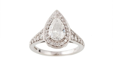 A DIAMOND PEAR SHAPED CLUSTER RING, with GIA certificate sta...