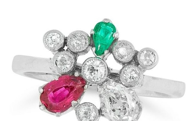 A DIAMOND, RUBY AND EMERALD RING in cluster form set
