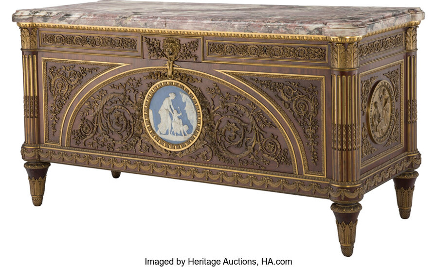 A French Ormolu and Jasperware Plaque-Mounted Mahogany Commode a Vantaux after the Model by Joseph Stockel and Guillaume Benneman (late 19th century)