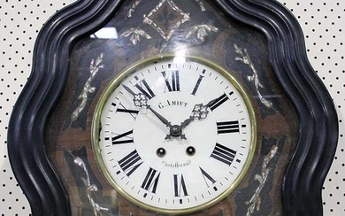 "A ""G.A. MIET"" MOTHER-OF-PEARL INLAID EBONISED WALL CLOCK"
