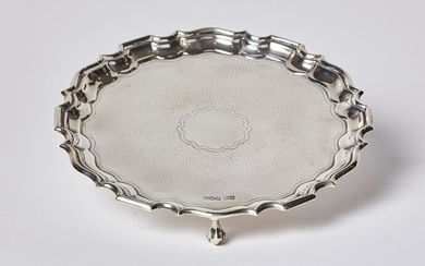 A GEORGIAN STYLE STERLING SILVER SALVER