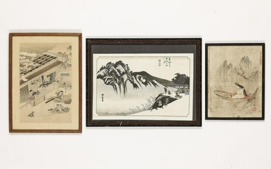 A GROUP OF TWO PAINTINGS AND ONE WOODBLOCK PRINT