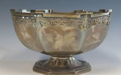 A George V Silver Hexagonal Footed Bowl with pierced foliate...