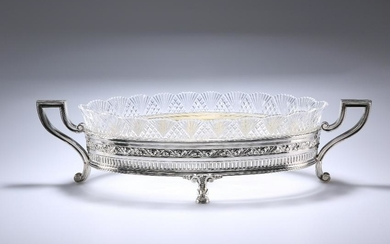 A LARGE ITALIAN SILVER-MOUNTED CUT-GLASS CENTRE BOWL